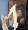 Harp and Harpist Painting